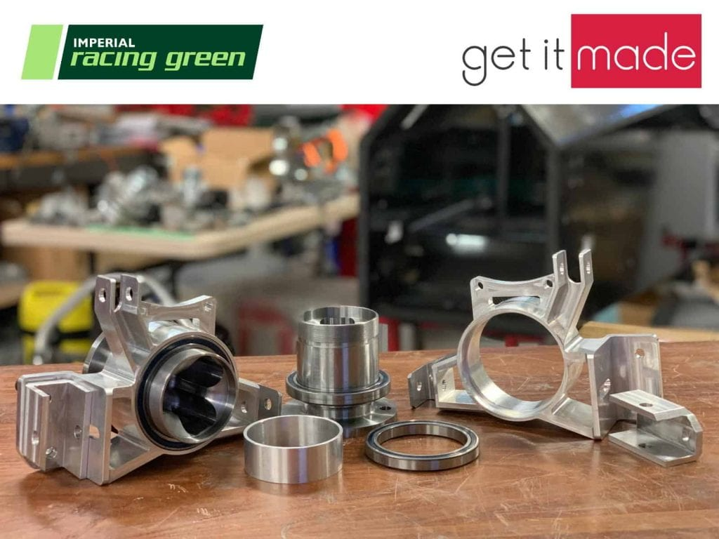 CNC Machined Parts with Imperial Racing Green and Get It Made Logos