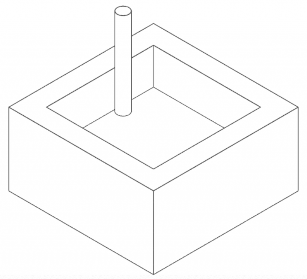 cnc part with square corners and cutting tool