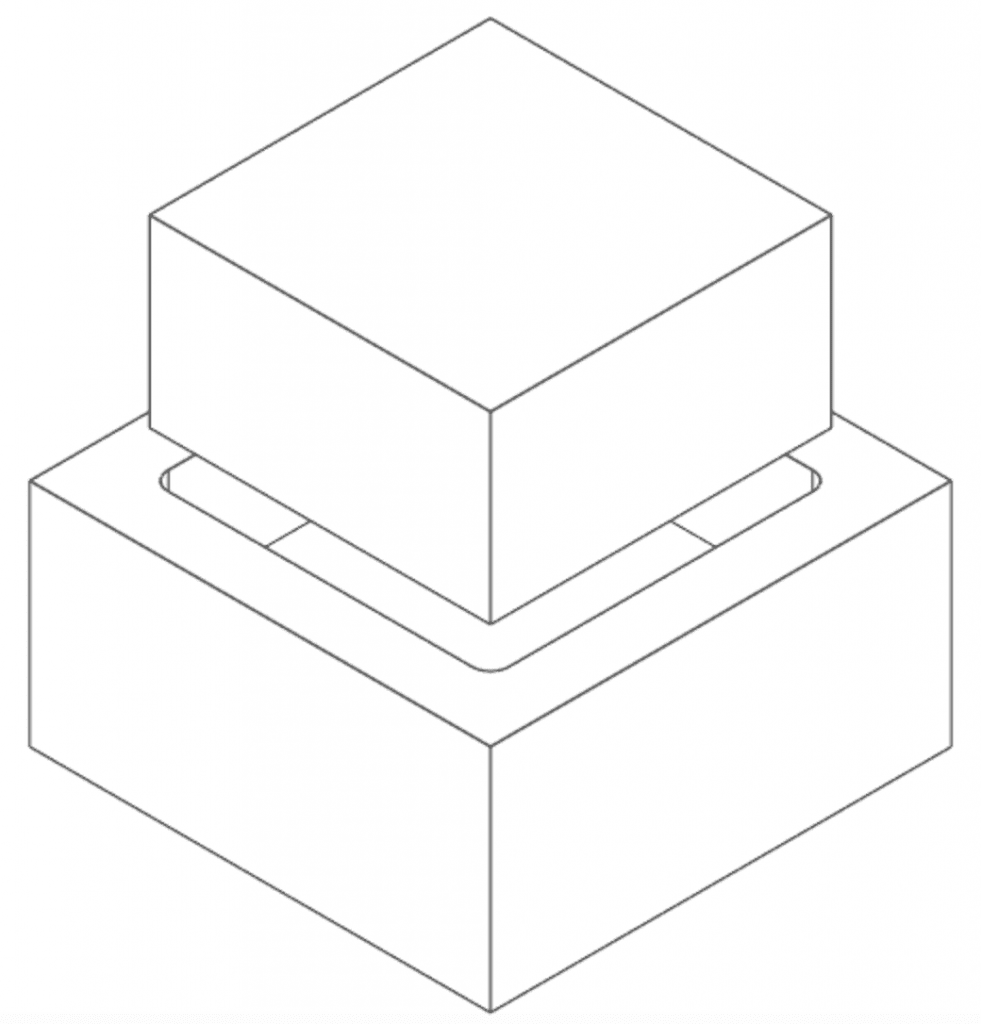cnc part rounded corners with square mating part