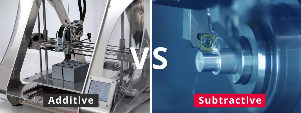 Additive manufacturing (3D printer) vs Subtractive manufacturing (Lathe)